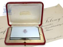 Enamel box: very important enamel snuff box with original certificate and original box, Austrian Royals present to Lord Josef Takacs-Tolvay (NO LIVE FEE)