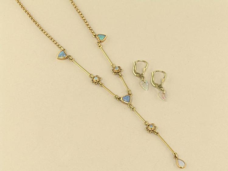 Ohrringe Collier Ausgefallener Vintage Opal Schmuck Handar