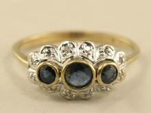 Ring: vintage Saphir/Diamantring