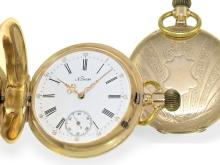 Pocket watch: decorative Geneva gold huntingcase watch, signed Pateck Geneve, ca. 1890