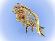 Brosche: Gold/Emaille-Brosche mit Rubinbesatz 'Fisch', vermutlich Frankreich 60er Jahre