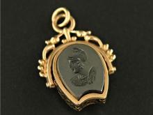 Taschenuhren-Zubehör/Anhänger: Uhrenketten-Siegelanhänger, antik, Roségold, Goldpunze Wien