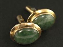 Manschettenknöppfe: vintage Goldschmiedearbeit, vermutlich sibirische Jade