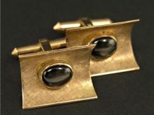 Manschettenknöpfe mit Sternsaphiren, vintage Goldschmiedeanfertigung
