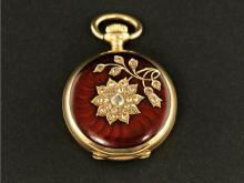 Taschenuhr/Anhängeruhr: dekorative Le Coultre Art Nouveau Gold/Emaille-Uhr mit Diamantbesatz