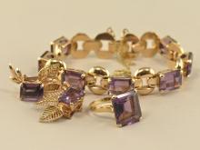 Armband/Ring/Ohrschmuck: sehr schönes vintage Schmuckset mit feinen brasilianischen Amethysten