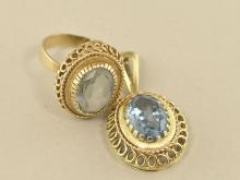 Ring/Anhänger: sehr schöner vintage Ring und Anhänger mit hellblauen Steinen, Blautopase