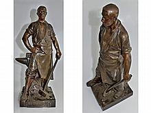 Bronzefigur: große Jugendstil Bronze Rombaux 'Le Forgeron', Frankreich um 1920