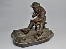 Bronzefigur: deutsche Jugendstil-Bronze 'Schmied', signiert O.Hertel