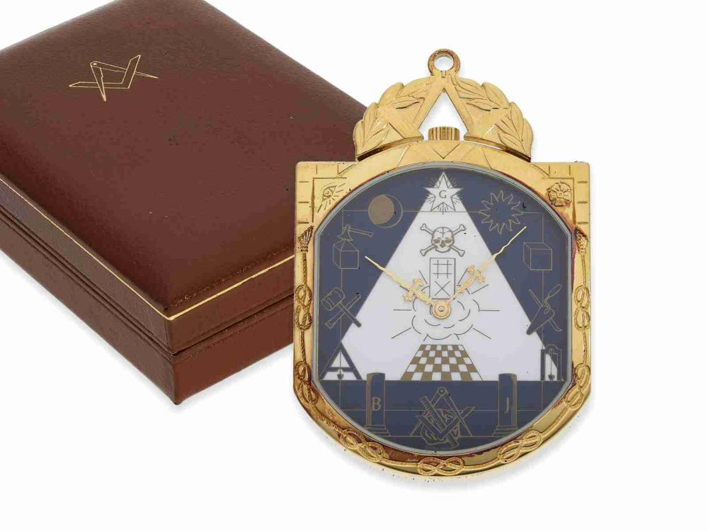 Pocket Watch/pendant watch: limited edition Minerva Masonic pendant watch/pocket watch with original box, from the 90's