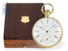 Pocket watch: fine Ankerchronometer with original mahogany box, Girard Geneve ca. 1875 (NO LIVE FEE)