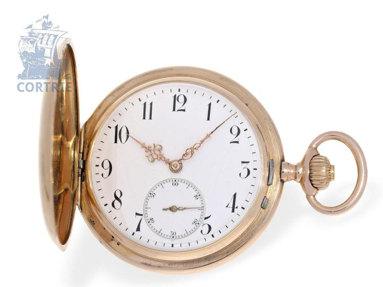 Pocket watch: high-class pink gold hunting case watch, ca. 1900, Dürrstein Dresden 'Union Glocke' (NO LIVE FEE)