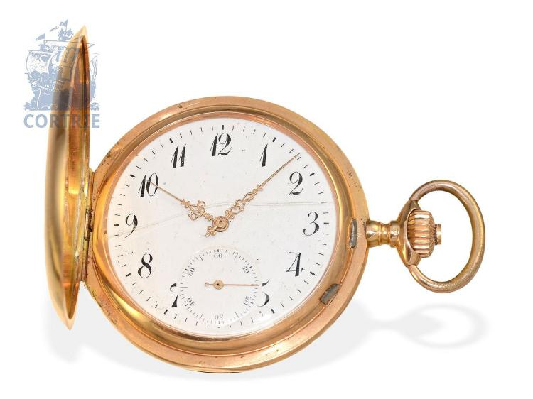 Pocket watch: heavy gold hunting case watch System Glashütte, Switzerland ca. 1900 (NO LIVE FEE)