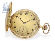 Pocket watch: very heavy Art Deco Omega gold hunting case watch, ca. 1920 (NO LIVE FEE)