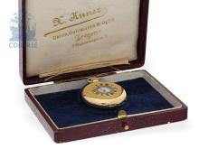 Pocket watch: rare and very fine half hunting case watch, Breguet's trainee Charles Oudin no.20225, caliber Louis Audemars no.8759, Paris ca. 1880 (NO LIVE FEE)