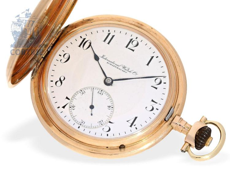 Pocket watch: pink gold hunting case watch, IWC Schaffhausen, 1912 (NO LIVE FEE)