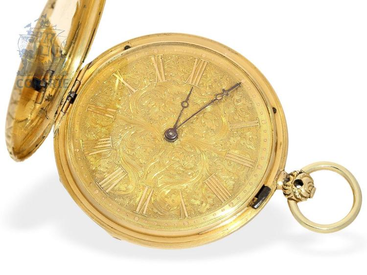 Pocket watch: fine gold hunting case watch, ca. 1840, Breguet's trainee Charles Oudin Paris no.3075 (NO LIVE FEE)