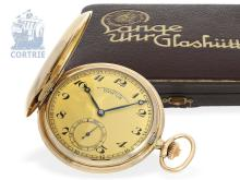 Pocket watch: A.Lange & Söhne Glashütte Art Deco hunting case watch with original box and original certificates no.10057/501849 (NO LIVE FEE)