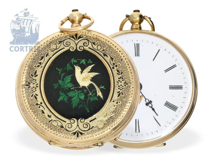 Pocket watch: decorative gold/enamel ladies watch, Switzerland ca. 1870 (NO LIVE FEE)