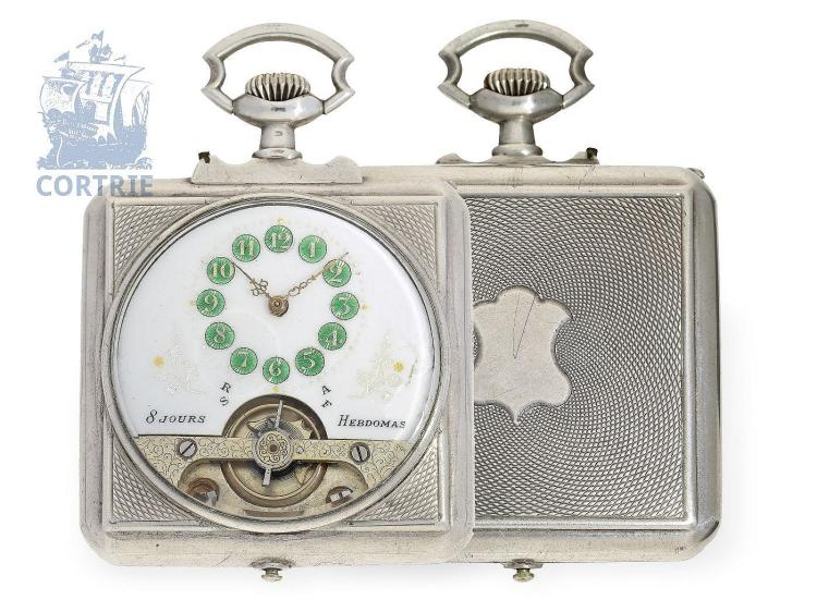 Pocket watch: fine and rare 8-days pocket watch Hebdomas, square shape with silver case, ca. 1920 (NO LIVE FEE)