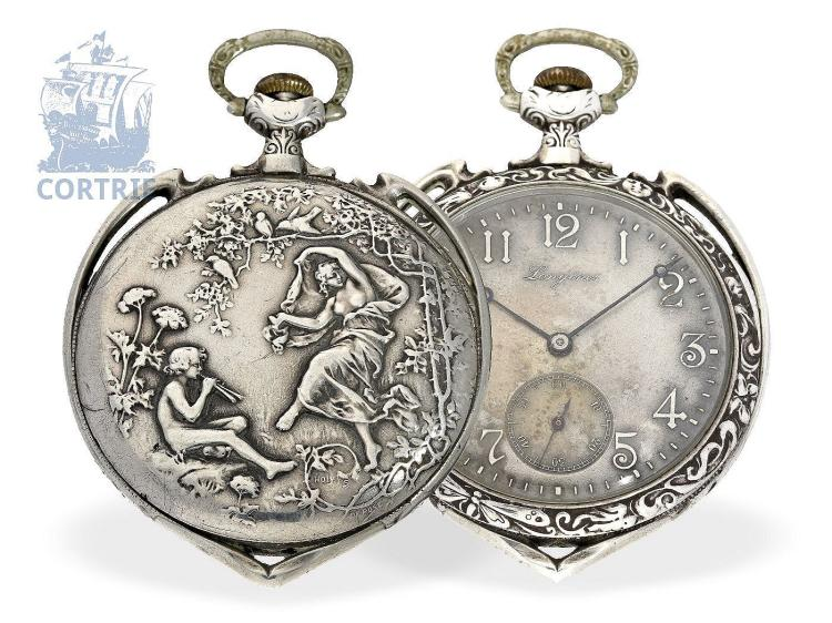 Pocket watch: Longines gentlemen's watch with really rare Art Nouveau relief case, ca. 1910 (NO LIVE FEE)