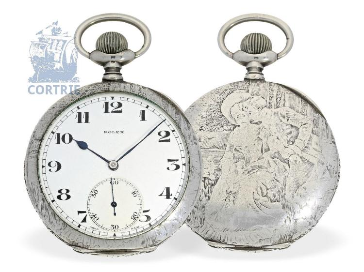 Pocket watch: very beautiful Rolex pocket watch with silver relief case, probably ca. 1930 (NO LIVE FEE)
