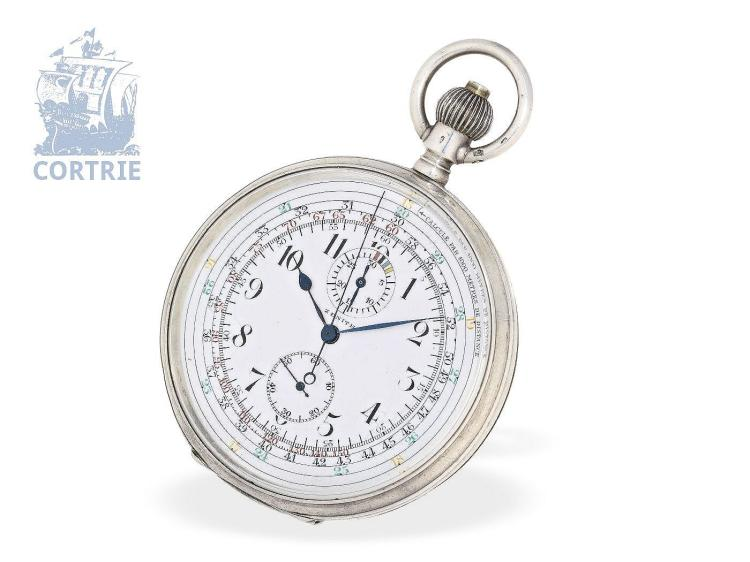 Pocket watch: extremely rare and very big Zenith chronograph Cadran Brevetè S.G.D.G, so-called 'CHRONO-TACHYMETER - MULTISCALE CHRONOGRAPH, ca. 1920 (NO LIVE FEE)