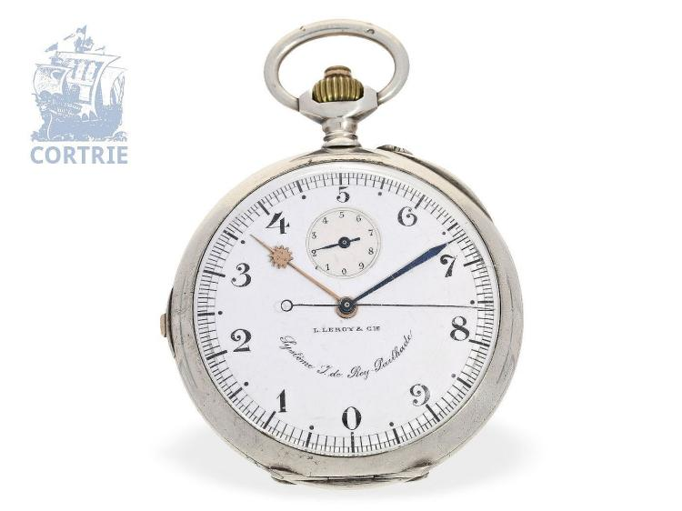 Pocket watch: very rare French chronograph with decimal time , L. Leroy & Cie 'Rey-Pailhade La montre décimale a l'usage des astronomes', ca. 1900 (NO LIVE FEE)