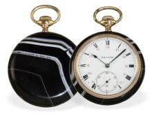 Pocket watch: very decorative gentlemen's watch by Zenith, rare agate stone case, ca. 1925 (NO LIVE FEE)