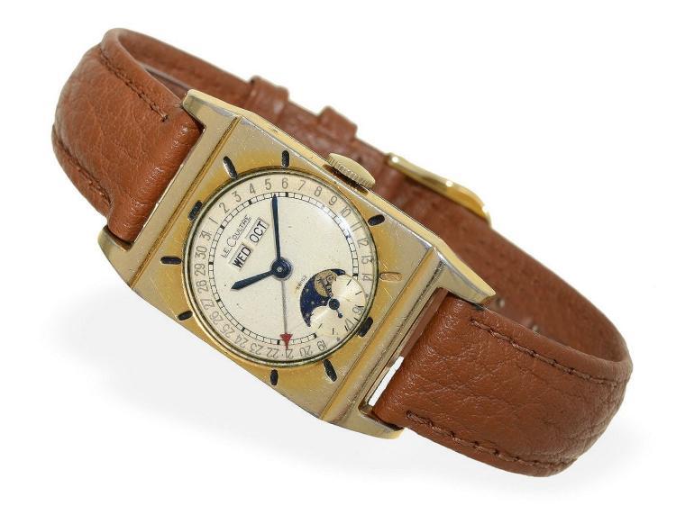 Wristwatch: popular Le Coutre calendar watch ca. 1945 (NO LIVE FEE)