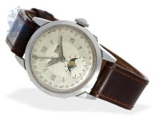 Wristwatch: Movado calendar watch with moon, stainless steel, from the 40s (NO LIVE FEE)