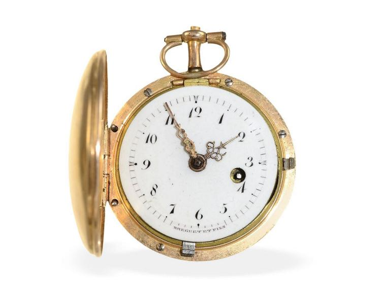 Pocket watch: very rare miniature hunting case watch, signed Breguet & Fils, Paris ca. 1815 (NO LIVE FEE)