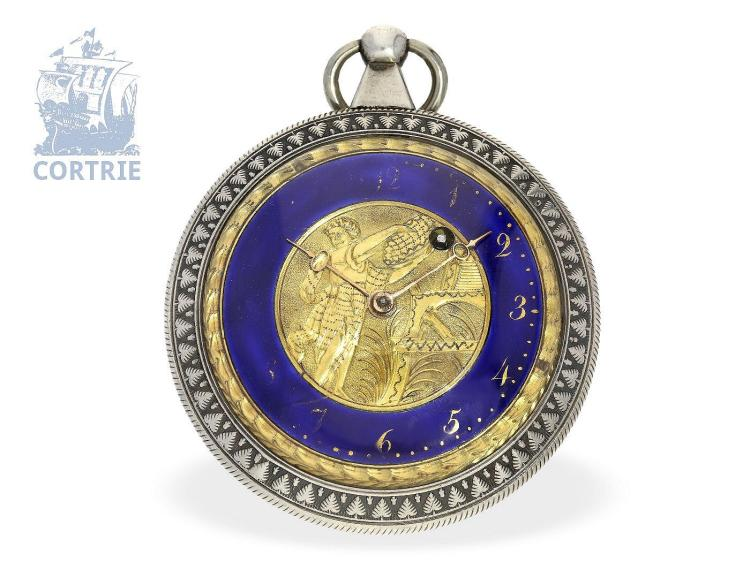 Pocket watch: big decorative verge watch with colored enamel dial, France ca. 1800 (NO LIVE FEE)