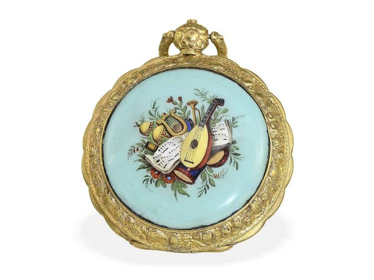 Pocket watch: verge watch for Ottoman Empire, decorative enamel painting, France ca. 1800 (NO LIVE FEE)