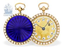 Box watch: high-grade and decorative gold/enamel pocket watch with pearls on both sides, probably Geneva ca. 1800 (NO LIVE FEE)