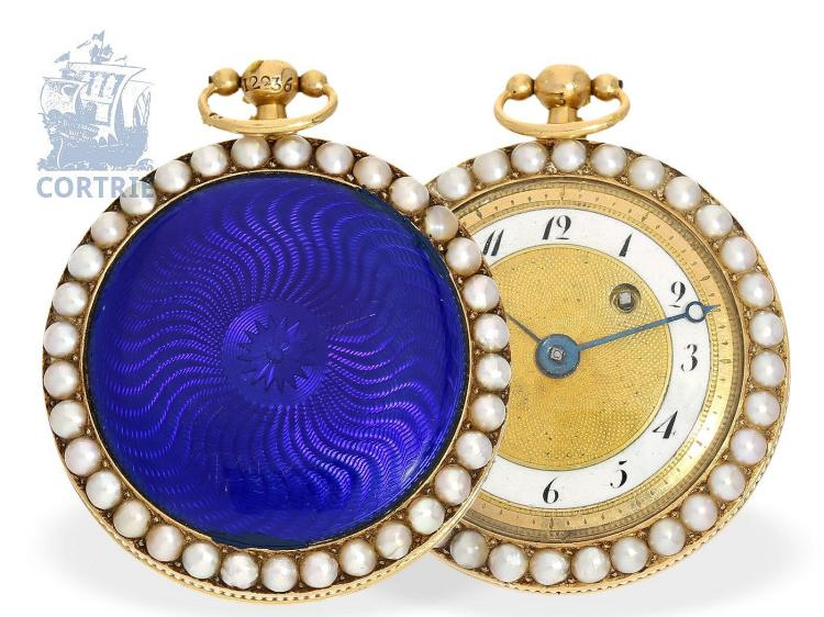 Pocket watch: decorative gold/enamel pocket watch with pearls on both sides, Blanc Fils Paris Palais Royal, ca. 1800 (NO LIVE FEE)