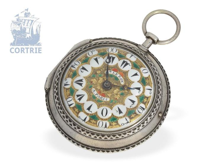 Pocket watch: big pocket watch for Ottoman market, extravagant enamel dial, Julien Le Roy Paris no.33070 (NO LIVE FEE)