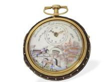 Pocket watch: rare paircase verge watch with enamel painting and automaton 'Battle of Arcola', France ca. 1795 (NO LIVE FEE)