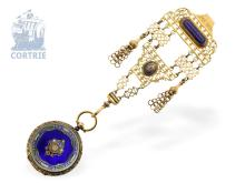 Pocket watch: decorative enamel chatelaine for Indian market, ca. 1850 (NO LIVE FEE)