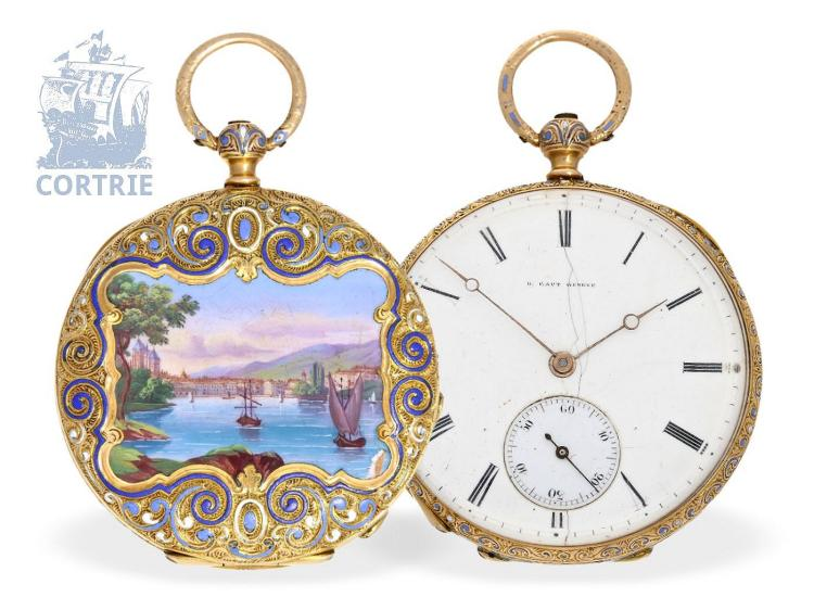 Pocket watch: Lepine watch with very fine enamel painting, Henry Capt Geneve no. 16422, Geneva ca. 1840 (NO LIVE FEE)