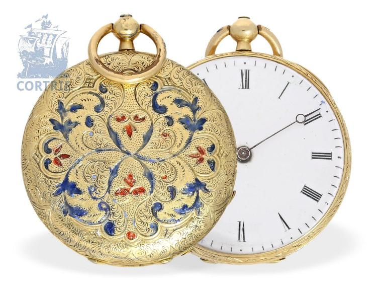 Pocket watch: very early Patek Philippe ladies watch, Czapek & Patek Geneve gold/enamel no.8905, ca. 1870 (NO LIVE FEE)