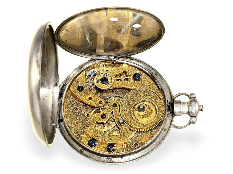 Pocket watch: big silver pocket watch for Chinese market, very beautiful movement, Fleurier ca. 1840 (NO LIVE FEE)