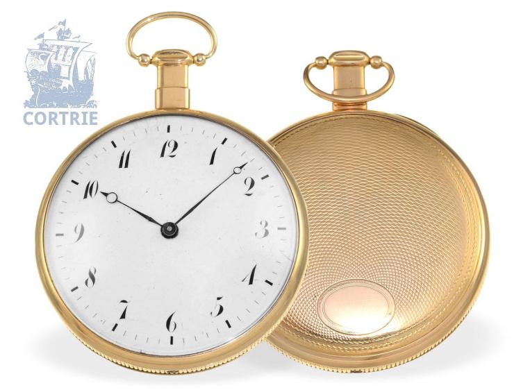 Pocket watch: big and heavy French repeater with beautiful movement, France ca. 1820 (NO LIVE FEE)