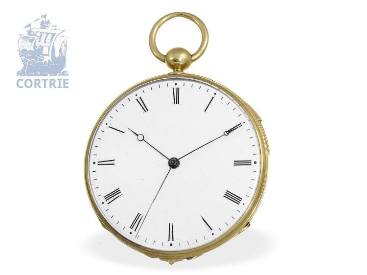 Pocket watch: very fine Geneva pocket watch repeater with independent seconds, Baudin Freres, quality EXTRA, Geneva ca. 1835 (NO LIVE FEE)