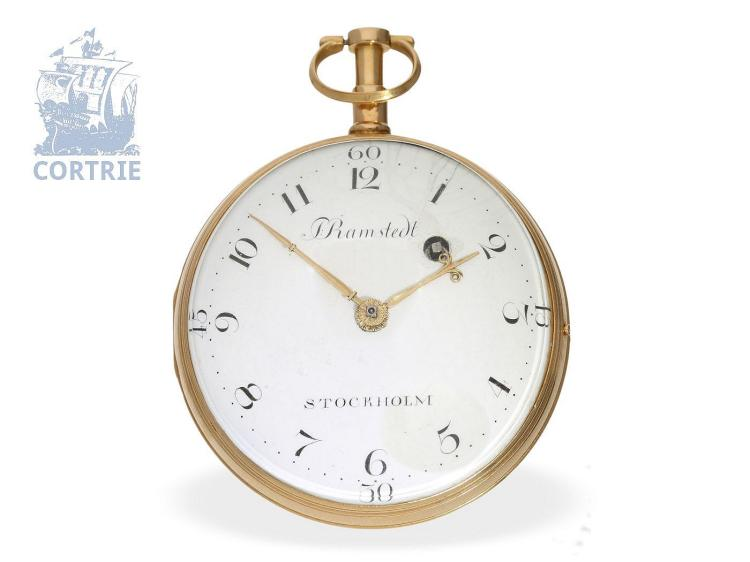 Pocket watch: rare Swedish verge watch, one of the earliest watches by the famous Stockholm watchmaker Petter Ramstedt (1770-1860) (NO LIVE FEE)