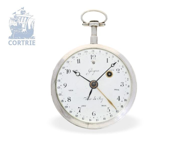 Pocket watch: rare astronomical verge watch with date and weekday indication, Royal watchmaker Gregson Paris, ca. 1789 (NO LIVE FEE)