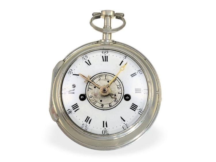 Pocket watch: complex verge watch with alarm on bell, very fine quality, Ligier a Salins, ca. 1770 (NO LIVE FEE)