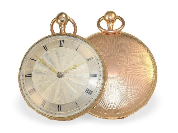 Pocket watch: fine French verge watch repeater, Parisian gold punch 1819-1838 (NO LIVE FEE)