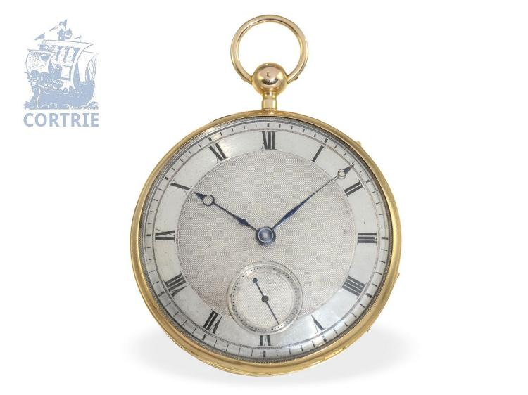 Pocket watch: big French repeater with early shock absorber and temperature compensation, ca. 1820, case punch PIG (NO LIVE FEE)