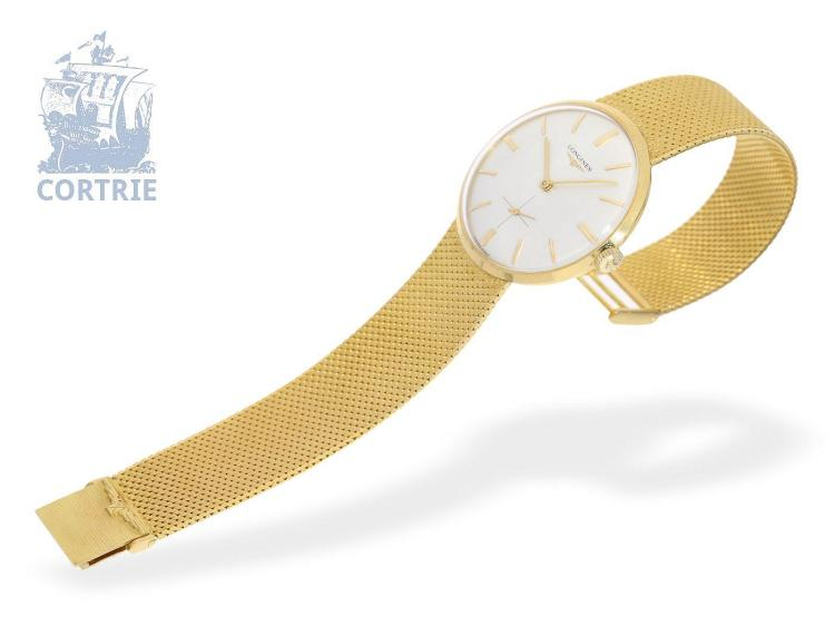 Wristwatch: exquisite new-old-stock Longines gentlemen's watch, 18 K gold, from 1966, unused (NO LIVE FEE)